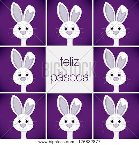 Bright Easter Bunny Card In Vector Format. Words Translate To