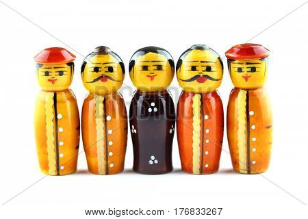 Five Indian handicraft characters on white background.