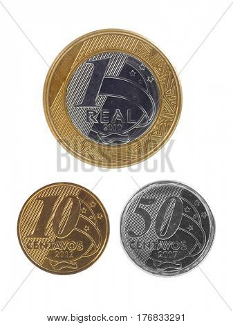 One real, 10 Centavos and 50 centavos Brazilian coins