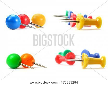 Colorful push pins collage on white background
