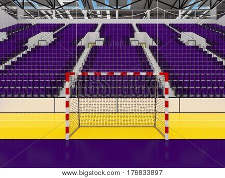 Beautiful Sports Arena For Handball With Purple Seats And Vip Boxes
