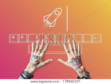 Rocket Spaceship Startup Business Strategy Graphic