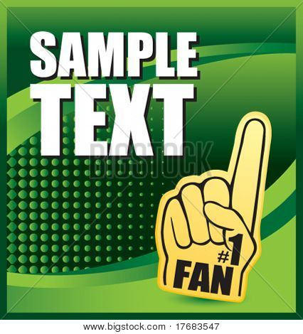 number one foam hand on green halftone banner