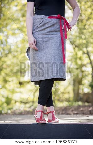 Gray Wrap-around Skirt With Red Cord Belt