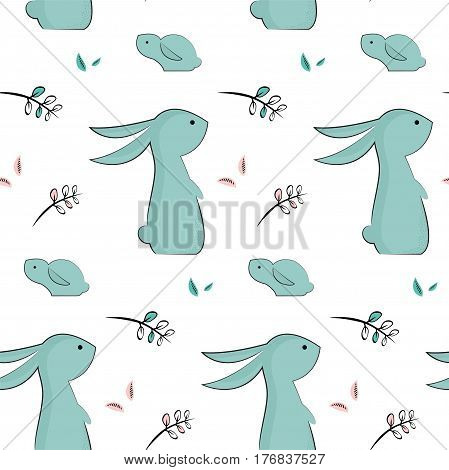childish pattern with cute rabbits. vector illustration for easter holiday