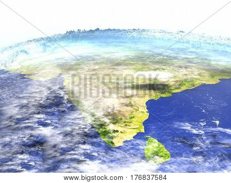 Indian Subcontinent On Realistic Model Of Earth