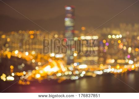 Aerial view blurred bokeh light Hong Kong city downtown abstract background
