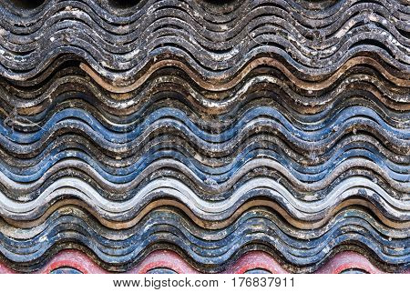 Closeup to Stack of Wavy Roof Tile Sectional View