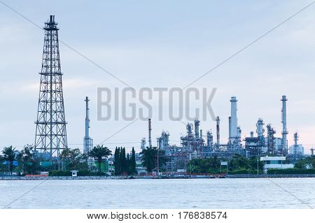 Oil refinery factory river front industrial factory background