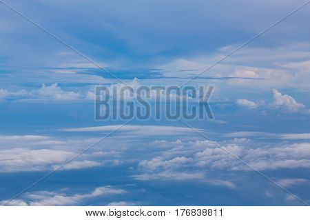 White clouds and blue sky soft tone natural skyscape background