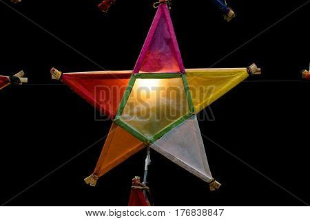 Multi colored star lamps and backgrounds .