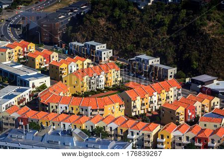 Orange roofs airo photography. Location: Aotearoa New Zealand, capital city Wellington, North Island.