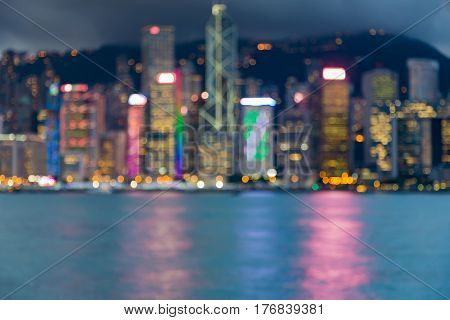Blurred light city of Hong Kong business downtown abstract background