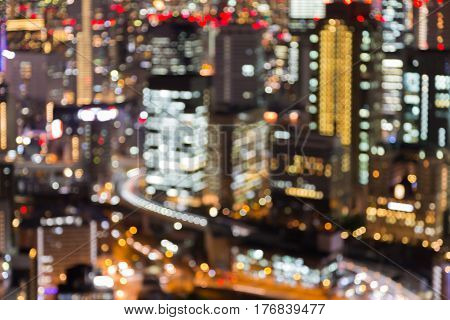 City business downtown blurred light night view abstract background Japan