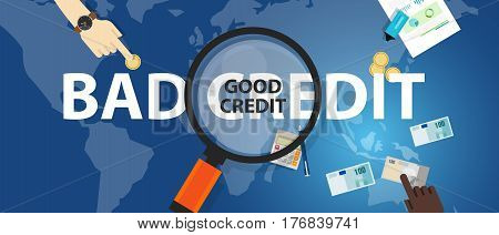 bad credit vs good credit score loan financial selection concept of money management vector