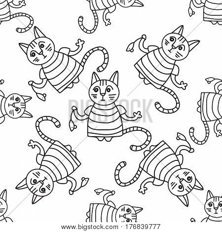 Doodle pattern of funny cats with mouses on white background.