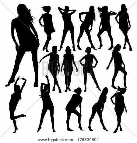 Silhouettes of young beautiful slim woman with long hair in little dress. Profile of sexy girl for design.