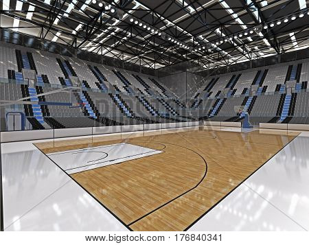 Beautiful Sport Arena For Basketball With Floodlights And Gray Seats