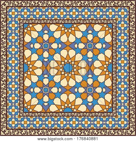 Ornamental pattern in arabic style traditional islamic ornament. Stained glass or mosaic background