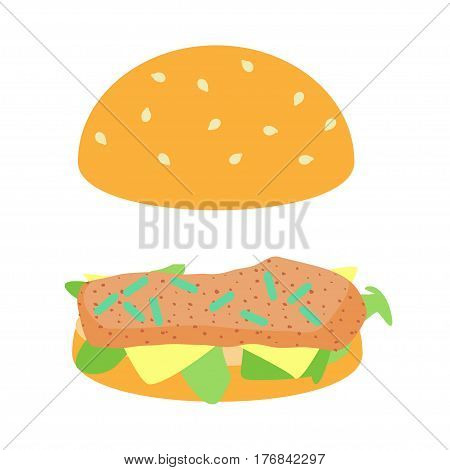 Listeria in hamburger concept. Stock vector illustration of dangerous bacteria on meat loaf in fast food.