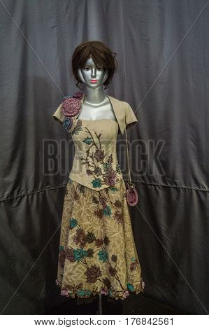 Beautiful dress with batik pattern displayed in Batik Museum photo taken in Pekalongan Indonesia java