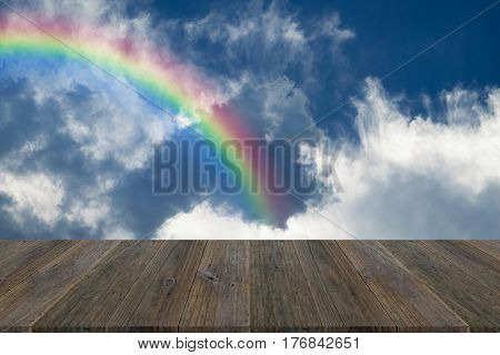 Blue Sky Cloud With Wood Terrace And Rainbow