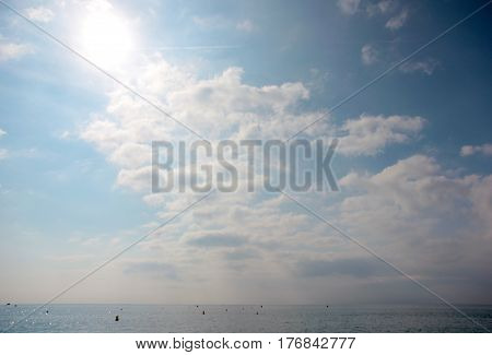A beautiful heavenly sunny landscape with clouds and pure gorgeous air
