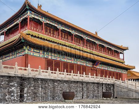 Beijing, China - Oct 30, 2016: The majestic Tower of State Benevolence building in the Forbidden City (Gu Gong, Palace Museum).