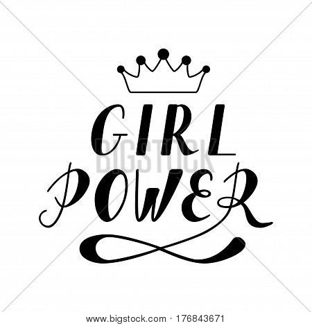 Hand written lettering Girl Power made in vector. Hand drawn card, poster, postcard, t-shirt apparel design. Ink illustration. Modern calligraphy.