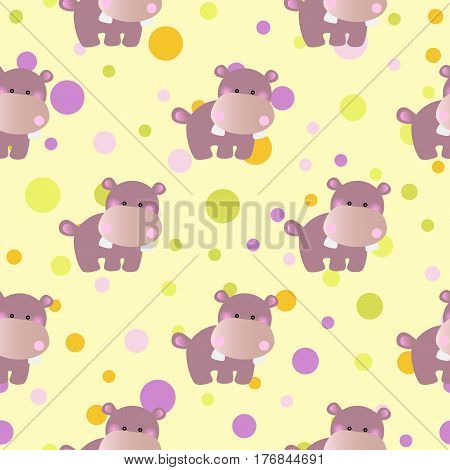 seamless pattern with cartoon cute toy baby behemoth and Circles on a light yellow background