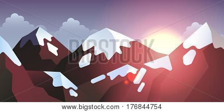 Stock vector illustration horizontal background mountain landscape in flat style at sunset or sunrise sunshine, solar beams, sunlight, snow-capped peaks design element for print, site header, brochure