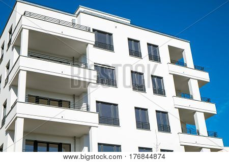 Detail of a white modern townhouse seen in Berlin, Germany