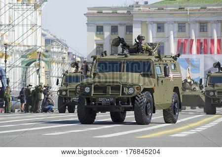 SAINT PETERSBURG, RUSSIA - MAY 05, 2015: Multi-purpose armoured vehicle