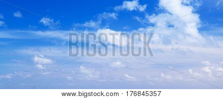 Clouds Over Blue Sky, Panoramic Photo