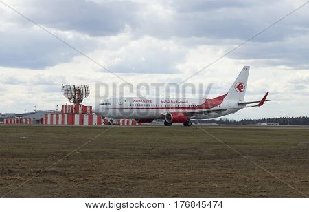 MOSCOW, RUSSIA - APRIL 15, 2015: The Boeing 737-800 (7T-VKA) of the company Air Algérie after landing at Sheremetyevo airport