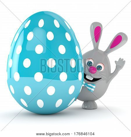 3D Rendering Of Easter Bunny With Easter Egg