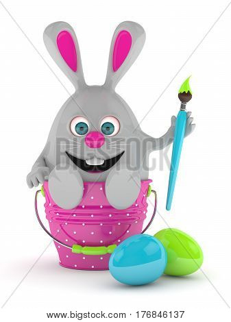 3D Rendering Of Easter Bunny With Painted Eggs