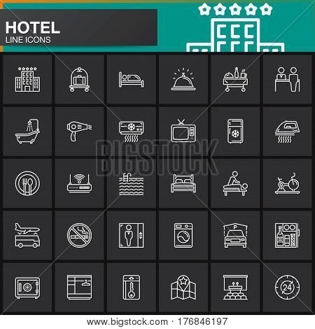 Hotel services and facilities line icons set outline vector symbol collection linear white pictogram pack. Signs logo. Set includes icons as hotel bed reception safe tv pool key map lift