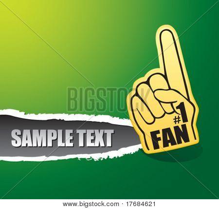 number one fan foam hand on ripped banner