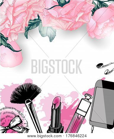 Cosmetics and fashion background with make up artist objects: nail Polish lip gloss powder brush powder puff . Template Vector.