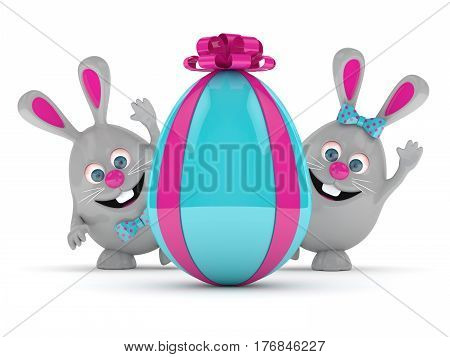 3D Rendering Of Easter Bunnies With Present Egg