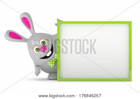 3d rendering of Easter bunny holding advertising board