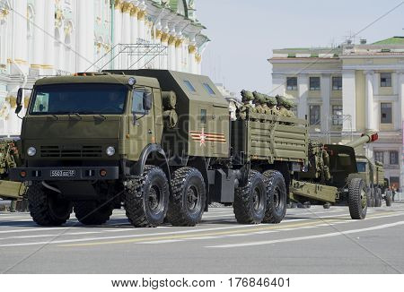 SAINT PETERSBURG, RUSSIA - MAY 05, 2015: Artillery KAMAZ-6350 with a gun at the rehearsal of parade in honor of Victory Day