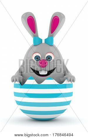 3D Rendering Of Easter Bunny In Egg Shell