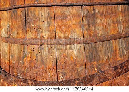 Very old destroyed wooden barrel close up