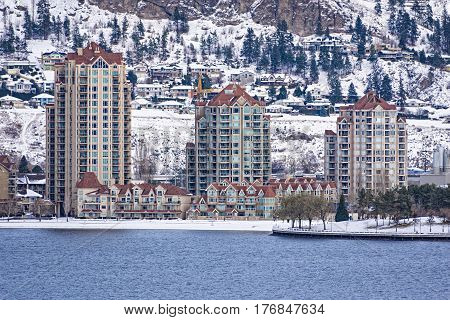 Kelowna Skyline in the winter from Okanagan Lake on a sunny summer day Kelowna British Columbia Canada
