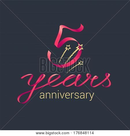 5 years anniversary vector icon, logo. Graphic design element with red lettering and golden stars for decoration for 5th anniversary celebration