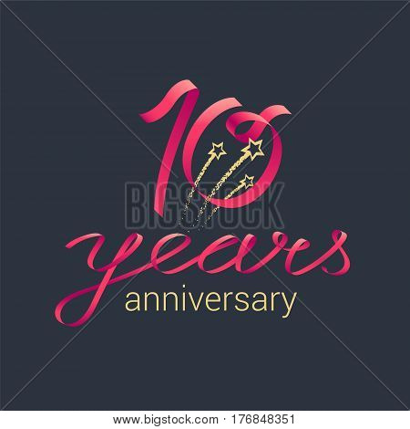 10 years anniversary vector icon, logo. Graphic design element with red lettering and golden stars for decoration for 10th anniversary celebration
