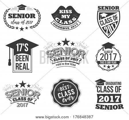 The set of black colored senior text signs with the Graduation Cap, ribbon vector illustration. Class of 2017 grunge badges on white background