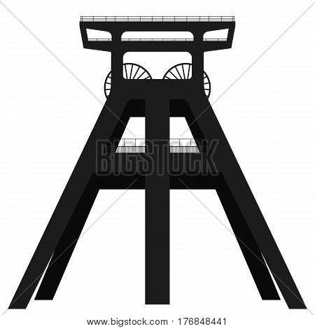 Black silhouette of winding tower, above coal mine isolated on white background. Vector illustration. EPS10